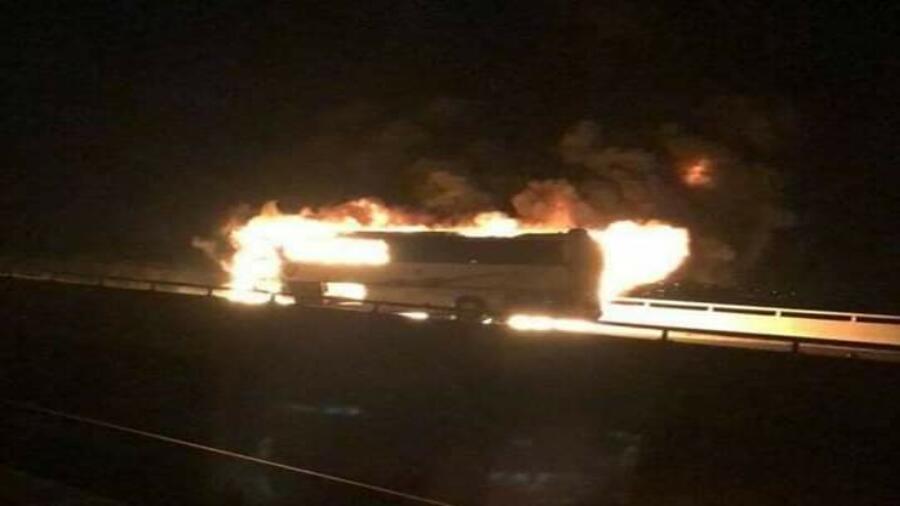 حادث مروع لحافلة معتمرين على طريق المدينة المنورة
