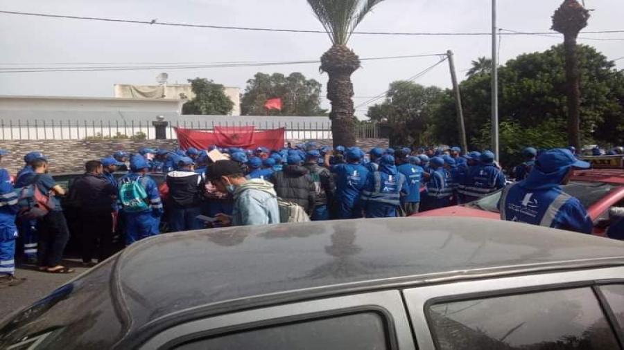 أمام مقر مقاطعة عين الشق وقفة إحتجاجية لعمال شركة أفيردا