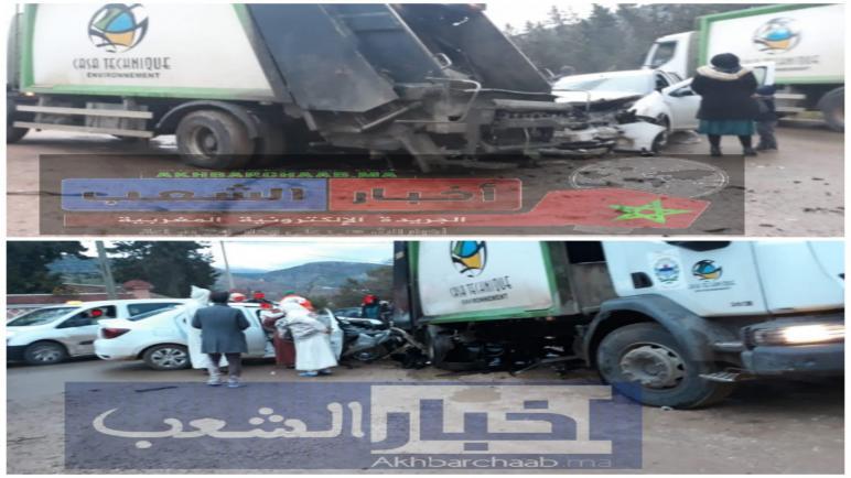 أزيلال : حادثة سير خطيرة…. اصطدام بين شاحنة تابعة لشركة النظافة و سيارة عائلية ببني ملال